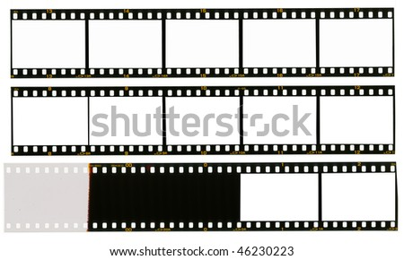 35 mm filmstrip, picture frames, isolated on white background, end of film with overexposure on left side