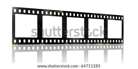 35 mm filmstrip, 5 square blank picture frames,
