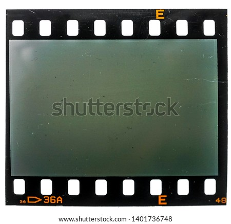 35mm filmstrip with empty or blank cell or  frame on white background, just blend in your photo to get that old film effect