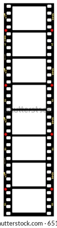 35mm format movie filmstrip, picture frames,standard film picture frames,with free copy space,isolated on white background