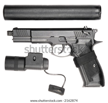 9 mm gun with the laser aim and in the parts