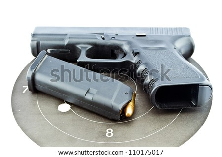 9-mm handgun automatic on white background