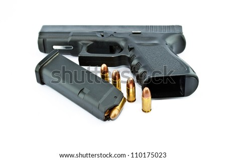 9-mm handgun automatic on white background