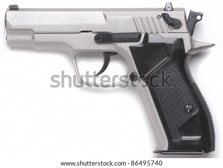 7, 62  mm handgun  isolated on white background