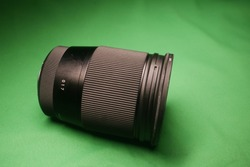16mm lens on a green background with variable ND filter attached to the front
