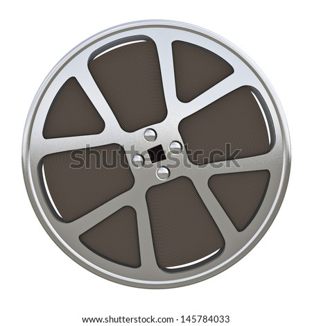 16 mm motion picture film reel - isolated on white background
