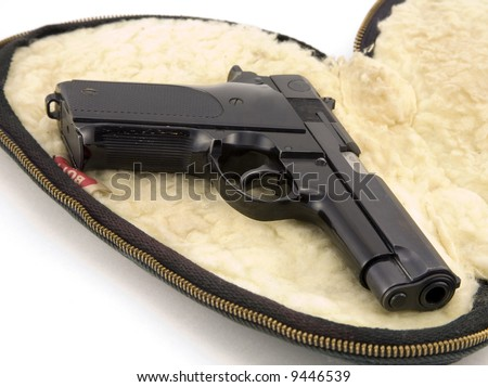 9mm Pistol On Wool Case Isolated On White Background Stock Photo