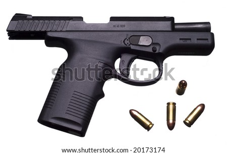 9 mm pistol with breach open and 4 cartridges, isolated on white