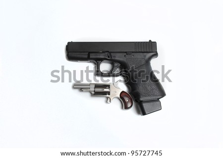 9mm pistol with 22 min revolver - stock photo