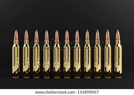 5.56 mm rifle bullets organizing in row.