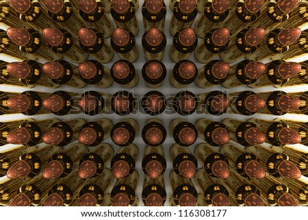 5.56 mm rifle bullets organizing in rows.