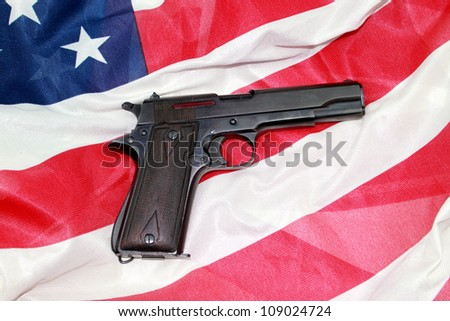 9mm semiautomatic pistol with American Flag