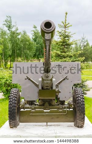 76.2 mm Soviet divisional and anti-tank gun Zis-3 - stock photo