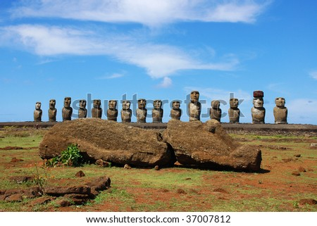 15 Moai and Sleeping Moai at Ahu Tongariki, Easter Island, Chile
