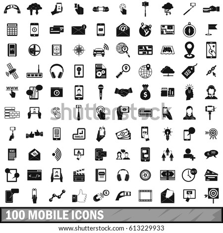 100 mobile icons set in simple style for any design  illustration