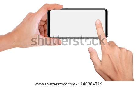 Mobile phone snapping a picture isolated on white background