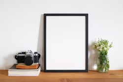 mock up frame photo with film camera