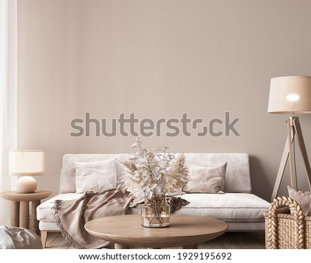 : Mock up wall in modern interior background, neutral wooden living room with dried plant and home decor, 3d render, 3d illustration