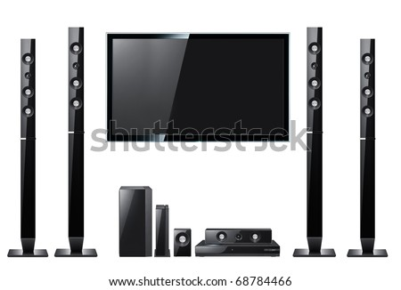 Modern acoustic systems with lcd panel isolated on the white