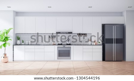 Modern Contemporary white kitchen room interior .3drender