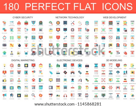 180 modern flat icons set of cyber security, network technology, web development, digital marketing, electronic devices, 3d modeling icons.