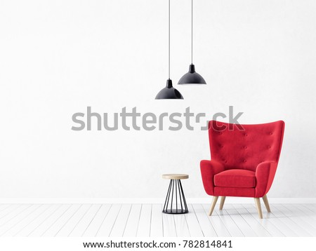 modern living room  with  red armchair and lamp. scandinavian interior design 