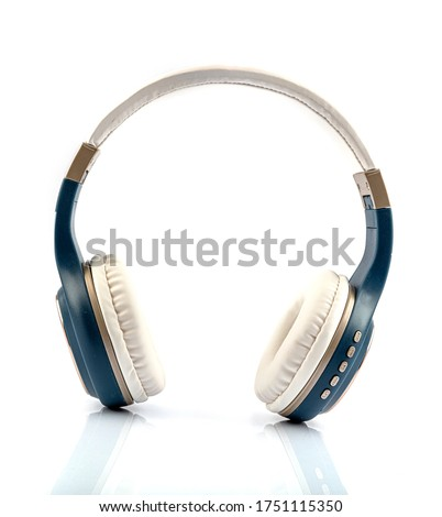 Modern wireless headphones on a white isolated background. On-ear headphones.