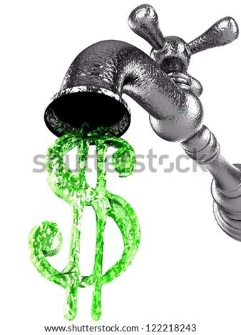 Money water flow from metal tap