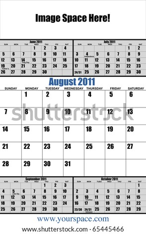 5 month 2011 calendar, August, with copy space and text space. Page one of 12