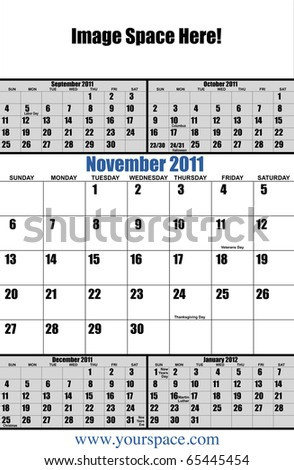 5 month 2011 calendar, November, with copy space and text space. Page one of 12