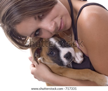 3 month old Boxer puppy with 'mom'