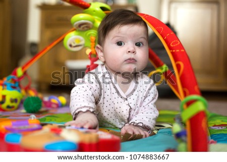 c6167329e95 Portrait of cute baby boy of 6 months at home Images and Stock ...