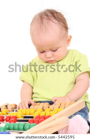 6 months baby girl with abacus isolated on white