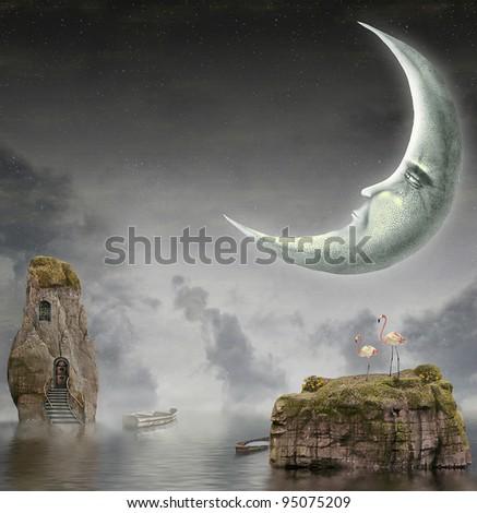 Moon is in sky