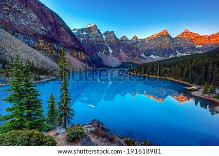 Moraine lake in Banff National Park, Canada,  Valley of the Ten Peaks - Shutterstock ID 191618981