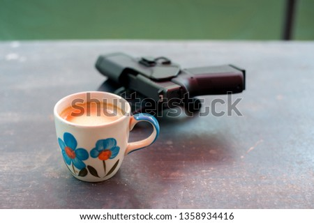 Morning coffee and weapons of the Border Patrol Police at the checkpoint