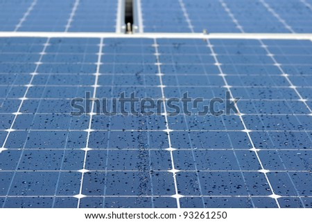 Morning dew drops on solar panel cells, background