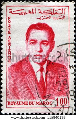 MOROCCO - CIRCA 1962: A stamp printed in Morocco shows king of Morocco Hassan II, circa 1962