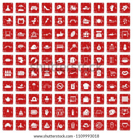 Stock Photo 100 mother and child icons set in grunge style red color isolated on white background illustration