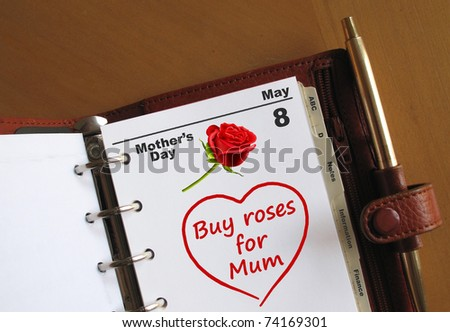 Mother's Day diary date in a personal organiser, with a reminder to buy roses for Mum
