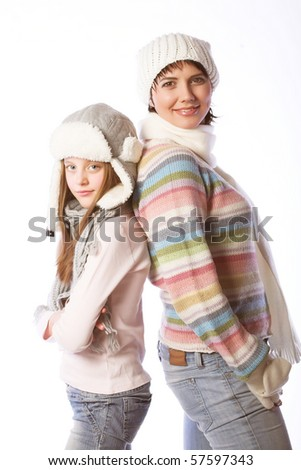 mother with child in winter  hats