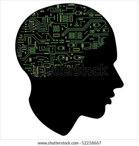 motherboard of the human mind ,  isolated over white background