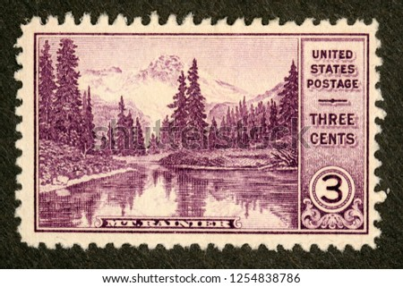 #742 Mount Rainier 3 cent Postage Stamp #1254838786
