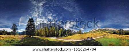 360° mountain panorama with cumulus clouds in the Wettersteingebirge range, Mt. Suedwand with view on the Mieminger Kette and Wettersteinmassiv mountains in Leutasch, Tyrol, Austria, Europe Stock fotó ©