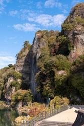 Mountains in Nakatsu City, Oita Prefecture. Autumn leaves in Japan