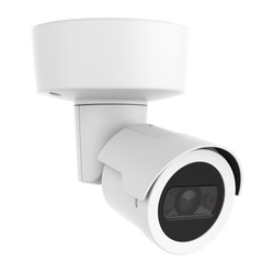 4MP Outdoor Security IP Bullet Camera Isolated. Wall & Ceiling Mounted Camera with Built-in IR. CCTV Closed Circuit Television Camera. Surveillance System. Electronic Device. Digital Equipment
