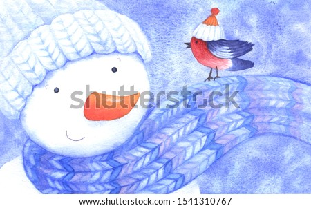Mr. Snowman and his friend Bullfinch. Winter characters in knitted hats. Greeting card for New Year's design, invitation. Watercolor illustration.