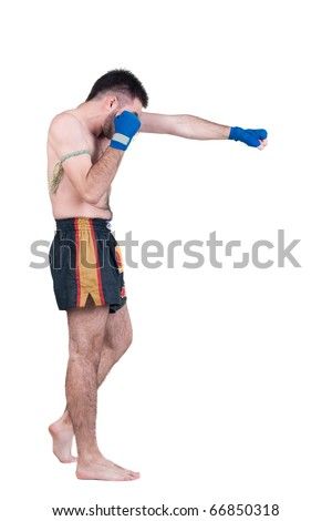 Muay Thai  fighter . Isolated over white background.