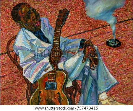 Muddy Waters, famous musicians, celebrities of jazz,oil painting, artist Roman Nogin, series