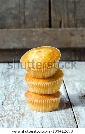 Muffins on a wooden table, Selective focus
